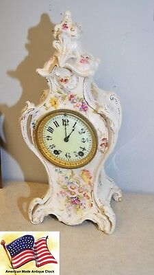 Restored Seth Thomas Beta-1896 Fine Porcelain Case Antique Mantle Clock