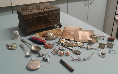 Antimony Box Box Containing Enamel Badges Jewellery And Other Vintage Items