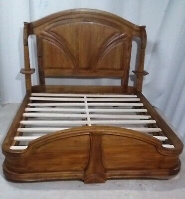 Mahogany 5' King Size Art Nouveau French Louis Antique Style Bed Eugene Vallin