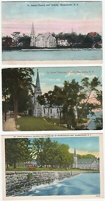 LOT of 5 Postcards - Skaneateles Lake NY - St James Church etc Borodino  1907 -