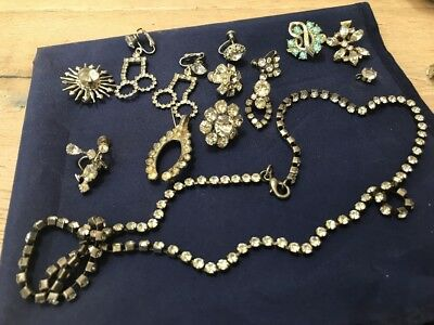 Vintage To Antique Lot Of Rhinestone Costume Jewerly Necklaces And Earrings