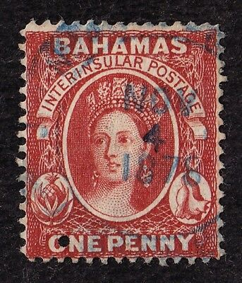Bahamas Scott #17 stamp - used - 1863 - 1p, carmine lake - hard to find !!
