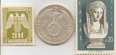 *antique  *GREEK  stamp  +  WWII - *german  SILVER  EAGLE coin