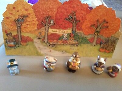 Lot of 5 Thanksgiving Merry Miniatures - New- Hallmark Vintage