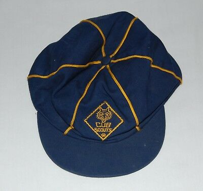 """Vintage Cub Scout Hat ball Cap Blue W/ Gold Stripping Genuine SIZE 6 7/8"""" 1960s"""