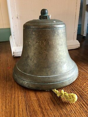 Large Vintage Antique Brass Bronze Ship Bell Grizzly Bear