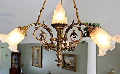 Antique French Gilt Bronze Empire chandelier 4 light frosted shades torch 19th c