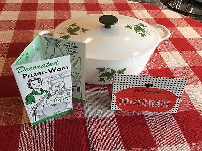 Vintage Prizer Ware White Enameled Ivy Pattern Cast Iron Dutch Oven Roaster 3qt