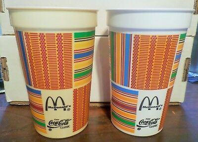 Mcdonalds Coca Cola Vintage Dobson African Design Kente Plastic Cups - Set Of 4