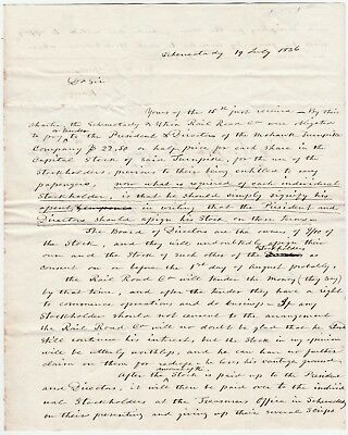 RARE Signed Stampless Letter re Utica & Schenectady Railroad 1836 Jacob Glen NY