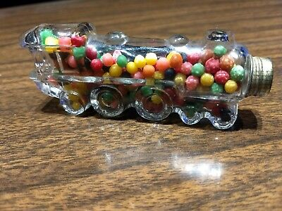 Vintage Glass Candy Container Locomotive w/ Candy #1028 Train T.H.Stough Co.