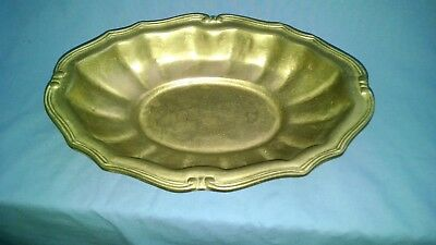 vintage large heavy solid brass oval bowl