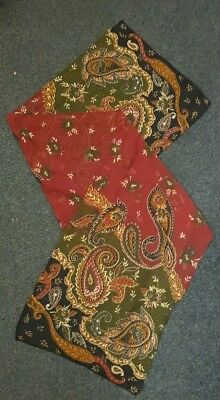 """Vintage pretty scarf 1950s red and brown PAISLEY 53"""" x 10"""" silk?"""