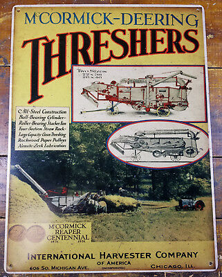 MCCORMICK DEERING THRESHER FARMING AGRICULTURE 12x16 HEAVY DUTY METAL ADV SIGN