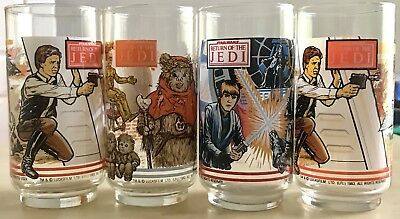 4- Vintage 1983 Star Wars Return Of The Jedi Burger King Coca Cola Glasses Rare