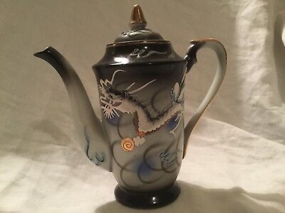 Antique DRAGONWARE MORIAGE 7.5 teapot Japan handpainted gray blk blue