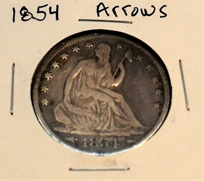 1854 Seated Liberty Half Dollar With Arrows In Fine Details With Some Scratches