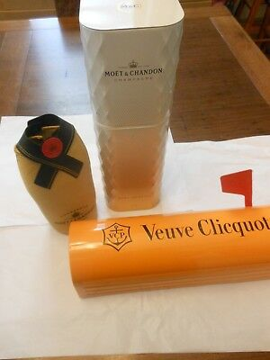 3x VEUVE CLICQUOT & MOET CHANDON CHAMPAGNE EMPTY COLLECTORS CARRIER TIN~Oakleigh