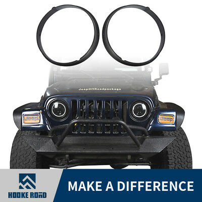 Hooke Road Jeep Wrangler TJ 97-06 Bright Black Headlight Bezels Headlight Cover
