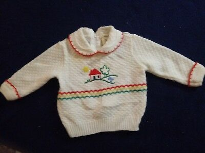 Vintage 1970s Baby Sweater Sz 3 mos Primary Color House & Blue Bird