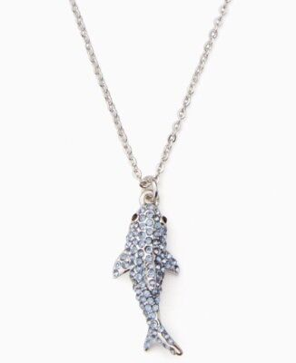KATE SPADE Silver Blue Pave California Dreaming Shark Pendant Necklace Dust Bag