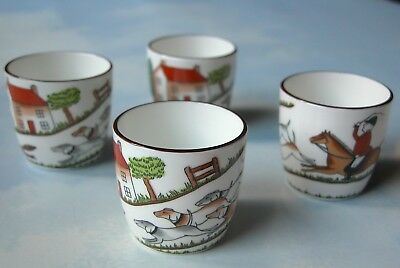 Set of 4 Crown Staffordshire Hunting Scene Shot Glasses, Jiggers or Cordial Cups