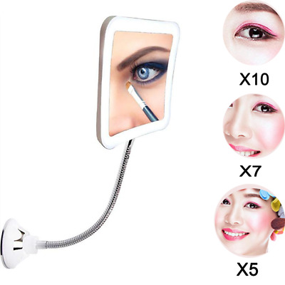 Gooseneck Mirror Wall Mount Magnifier Magic LED lighting x5 x7 x10 Magnification