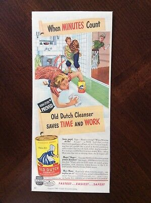 1946 vintage original color ad Old Dutch Cleanser Saves Time And Work