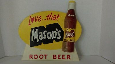 Rare, Vintage, Plastic, Embossed, Mason's Root Beer Soda Sign