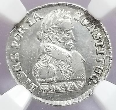 Bolivia 1830 PTS JL Silver 1/2 Sole 6 Point Star MS 62 NGC Choice Lustrous 118-6