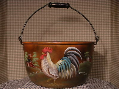 Vintage Wear-Ever Kitchen Kettle Rooster Hen Country Farms Folk Art By Jmd