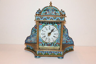 Vintage Chinese Cloisonne Clock battery operated good condition