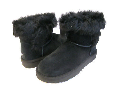 a463a2f43aa UGG MILLA WOMEN Ankel Boots Suede Exposed Fur Black Us 8 /uk 6.5 /eu ...