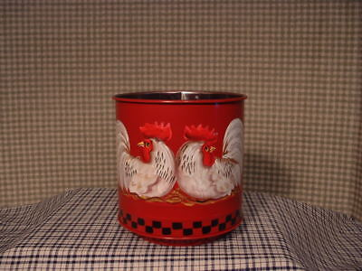 Stainless Flour Sifter Roosters Hand Painted Folk Art By Jmd