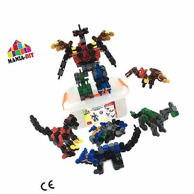 Construction building blocks 4 in 1 | 144 pcs to build 4 dinosaurs that can b...