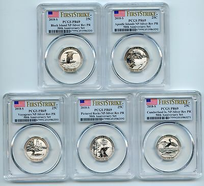 2018 S Silver Reverse Proof National Parks Quarter Set PCGS PR69 First Strike