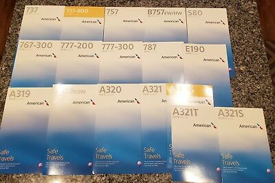 American Airlines 17 Safety Cards LOT of Airbus Boeing Embraer McDonnell Douglas