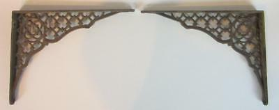 Pair of Antique VTG Art Deco Ornate Cast Metal Iron Shelf Brackets Corbels 6 x 8