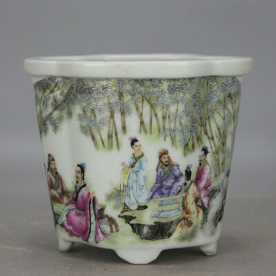 China old hand-carved porcelain famille rose glaze figure pattern flowerpot c01
