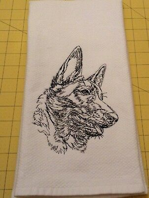 BELGIAN MALINOIS EMBROIDERED SKETCH! Williams Sonoma Kitchen Hand Towel