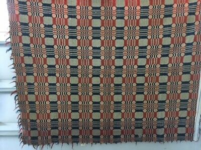 Antique Jacquard Red and Blue Coverlet