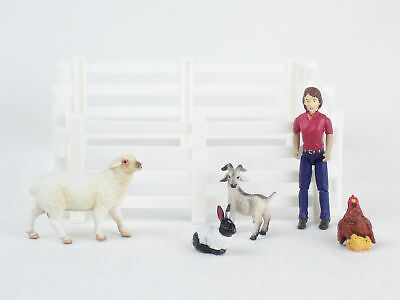 BREYER Stablemates FARM ANIMALS Farmer Cowgirl SHEEP Goat RABBIT Chicken Fence