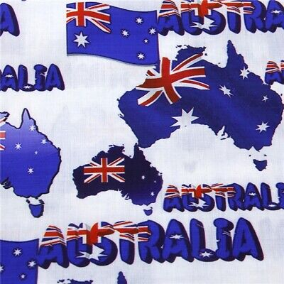 Fabric Australian Flag Australia Day Print Polycotton Blend 50 X 145Cm/20 X 58In