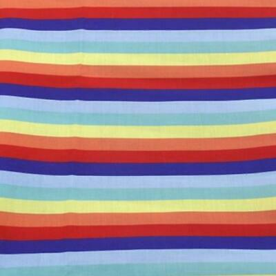 Fabric Bright Coloured Rainbow Striped Print Polycotton Blend 50X145Cm/20 X 58In