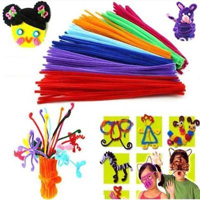 100x  Chenille Craft Stems Pipe Cleaners 30cm Long,0.6cm Wide-Kids-Twist T3X6