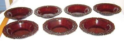 7 Red 1876 Avon Cape Cod  glass rimmed soup/cereal bowls-7 1/4 inches across