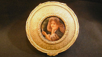 Antique french gilt bronze jewelry box with porcelain miniature woman girl