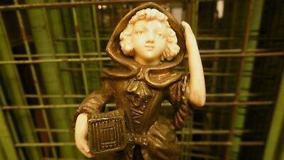 Antique Bronze figure chriselefantine of little a girl with a box. Signed