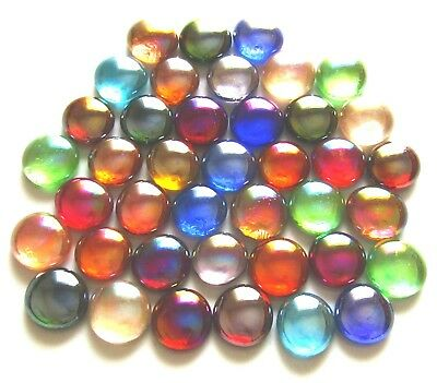40 x Iridescent Mixed Rainbow Colours Art Glass Mosaic Craft Pebbles Gem Stones