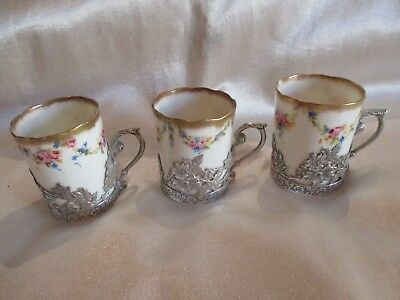 3 Antique Sterling Silver Holders Nautilus Porcelain Coffee Cups Sheffield1904